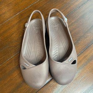 Brown Mary Jane Crocs Sz 8